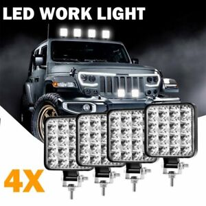4X 48W Spot Led Work Light Bar Fog COB Cube Pod For Offroad Truck SUV ATV 12V