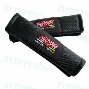 Seat Belt Covers Jdm Mugen Power Carbon Fiber Look For Honda Shoulder Pad New X2