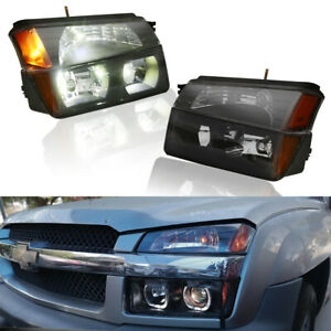 Pair Front Headlights Assembly For 2002 2006 Chevrolet Avalanche 1500 2500