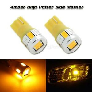 2x 194 Amber Front Rear Side Marker High Power T10 168 Led Signal Light