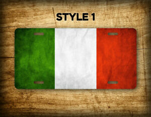 Italian Flag Americana Styled Grunge Metal License Plate Antique Italy Flag