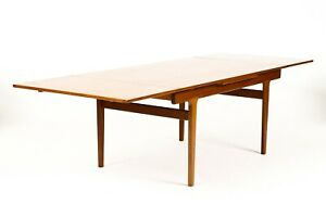 Danish Modern Mid Century Teak Dining Table Rect Draw Leaf Vejle Stole