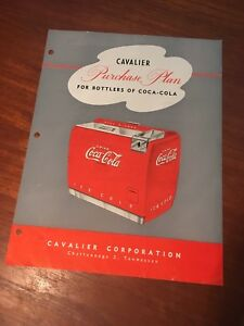 Coca Cola 1940s Cavalier Cooler Purchase Plan Chattanooga TN 2-Side Insert Paper