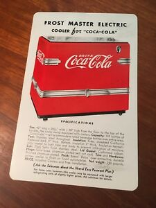 Coca Cola 1940s Frost Master Electric Cooler Canadian Flyer Paper