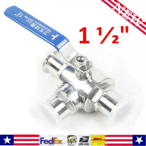 1 1 2 Sanitary Stainless 304 Three Way Ball Valve Clamp Connection Best Us Ship