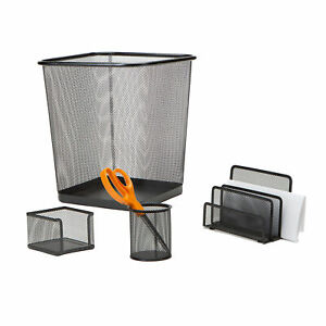 Mind Reader 4 Piece Desk Organizer Set With File Tray Trash Can And More Black