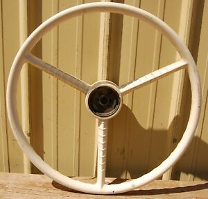 Very Cool Vintage 1950 1960s 20 Car Boat 3 Spoke Steering Wheel White