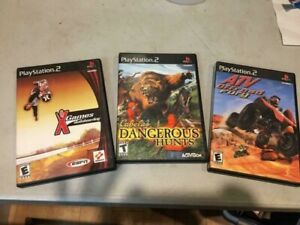 PLAYSTATION 2 GAMES QTY 3- CABELAS DANGEROUS HUNTS  ATV OFFROAD FURY  X GAMES SK