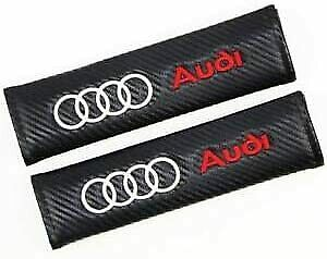 Pair Embroidery Sport Black Seat Belt Cover Shoulder Pad Cushion Racing For Audi
