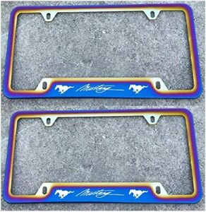 Blue Burnt Rainbow Chameleon Mustang Car License Plate Tag Cover Frame Stainless