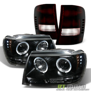 1999 2004 Jeep Grand Cherokee Led Halo Headlights black Tinted Tail Brake Lamps