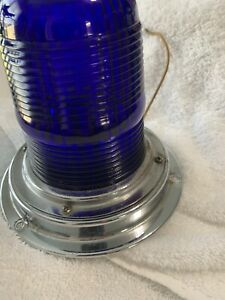 Volkswagen Vintage Blue Glass Firetruck Ambulance Emergency Light