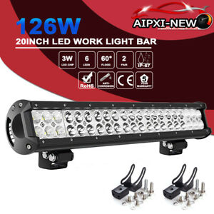 20 21 Led Work Light Bar Driving Combo Offroad Truck Suv Atv For Ford Jeep Rzr