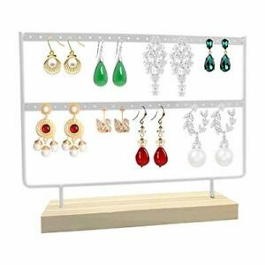Earrings Organizer 46 Holes 2 Layers Jewelry Display Wood Stand white