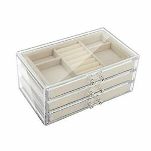 Emibele Jewelry Box 3 Drawers Velvet Jewelry Organizer For Ring Earring Necklac