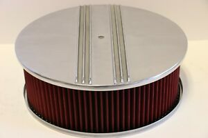 Half Finned 14 X 5 Round Polished Aluminum Red Washable Air Cleaner Sbc Bbc
