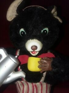 Rare Old Vintage Battery Operated Maxwell Coffee Bear  1950's Working