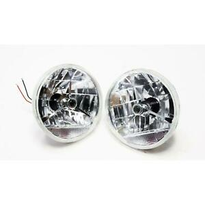 Speedway 7 Inch Tri Bar Headlights W Clear Turn Signal Lens