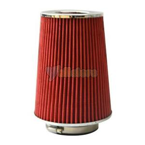 3 5 Narrow High Flow Cold Air Intake Cone Replacement Dry Air Filter Red