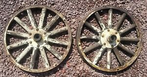 2 Ford Model T Wooden Spoke Wheel And Hubs With Original Paint