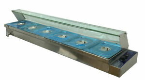 Techtongda 110v 6 well Commercial Bain marie Buffet Food Warmer Stainless Steel