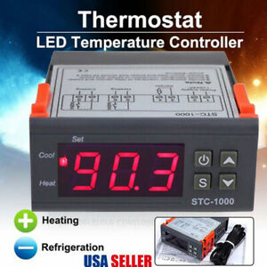 Stc 1000 24v Digital Dual Temperature Controller Thermostat Module With Sensor