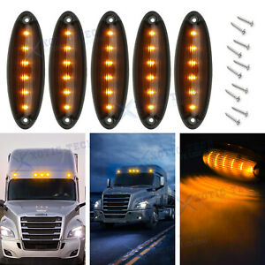 For Freightliner Cascadia Oe Fit Smoked Amber Led Roof Clearance Marker Light 5x