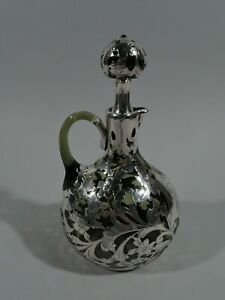 Gorham Decanter S1490 Art Nouveau American Green Glass Silver Overlay