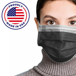 Made In Usa 50pcs Black Color Face Mask Mouth Nose Protector Respirator Masks