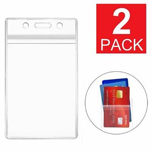 2 pack Id Card Holder Clear Plastic Badge Resealable Waterproof Business Case