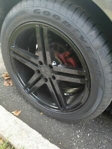 4 Used 19 Black Rims And Goodyear Tires 255 45 R19 Ford Mustang