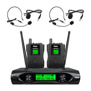 Wireless Microphone System 2 Channel 2 Lavaliers Lapels 2Headsets Pro Audio UHF $69.00