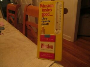 VINTAGE WINSTON CIGARETTE THERMOMETER SIGN 6X13