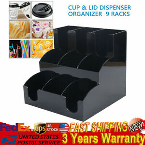 9 Racks Cup Lid Dispenser Organizer Coffee Condiment Caddy Coffee Cup Holder