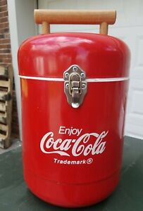 COCA-COLA COOLER Round - Foam Lined - Wood Handle -- Rare!