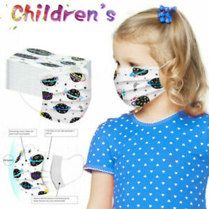 50pcs Kids Disposable 3 Ply Face Mask Anti haze Dust Halloween Face Mouth Cover