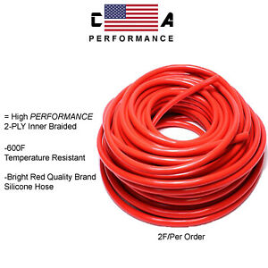 10mm 3 8 Red Vacuum Silicone Performance Hose Racing Line Tube 2 Feet Per Order