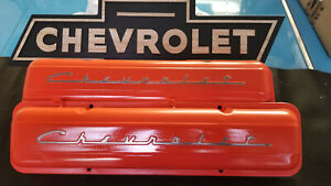 Old School Vintage Chevrolet Script Factory Steel Valve Covers Sbc Straight Bolt