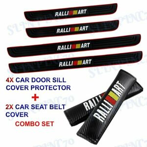 Car Door Scuff Sill Cover Panel Step Protector Combo Set For Mitsubishi Ralliart