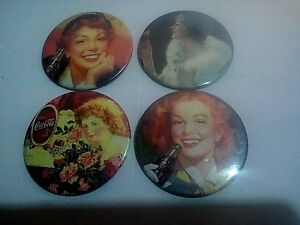 Vintage Coca-Cola Button Pin Back Advertisement Ladies 3 inch Lot of 4