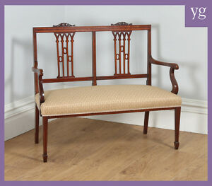 Antique English Edwardian Inlaid Mahogany Ladies Salon Sofa Couch Settee