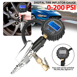 Digital Tire 250psi Inflator W Lcd Pressure Gauge Air Chuck For Truck Car Bike