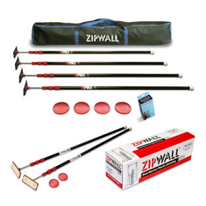 Zipwall 10 feet Spring loaded Zip Poles 6 pack With Plastic Sheeting Bundle