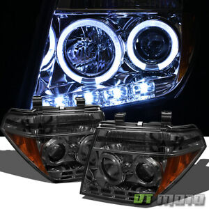 Smoke For 2005 2008 Frontier 05 07 Pathfinder Led Drl Halo Projector Headlights