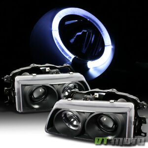 For Black 1988 1989 Honda Civic Crx Led Halo Projector Headlights Left Right Set