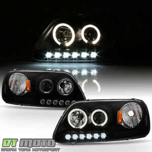 Black Smoked 1997 2003 Ford F150 97 02 Expedition Led Halo Projector Headlights