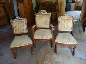 19th Century Victorian Parlar Chairs 1 His 2 Hers