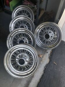 5 15 Wire Wheels 77 92 Rwd Cadillac Stock Rims Oem 15x6 With Center Caps