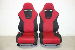 Jdm Honda Civic Type R Ep3 Recaro Front Seats Rails 2001 2005 Red Black
