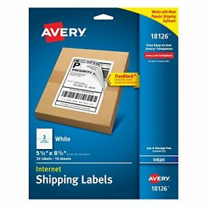 Avery Shipping Address Labels Laser Inkjet Printers 20labels Half Sheet Labels